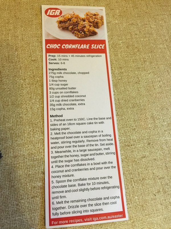 The recipe card from IGA for Choc Cornflake Slice