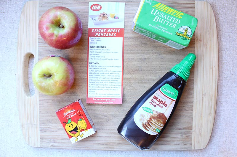 Ingredients ready to make Sticky Apple Pancakes - All from IGA