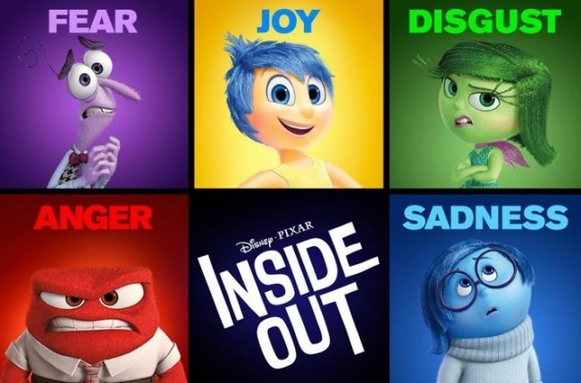 The emotions from the film Inside Out.