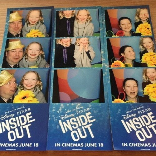 Family photo booth fun at the Inside Out Premiere.