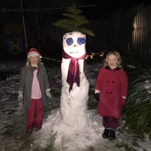 After we got home from getting the tiles, Hubby helped the kids build a second snowman. Hope it is there still in the morning.