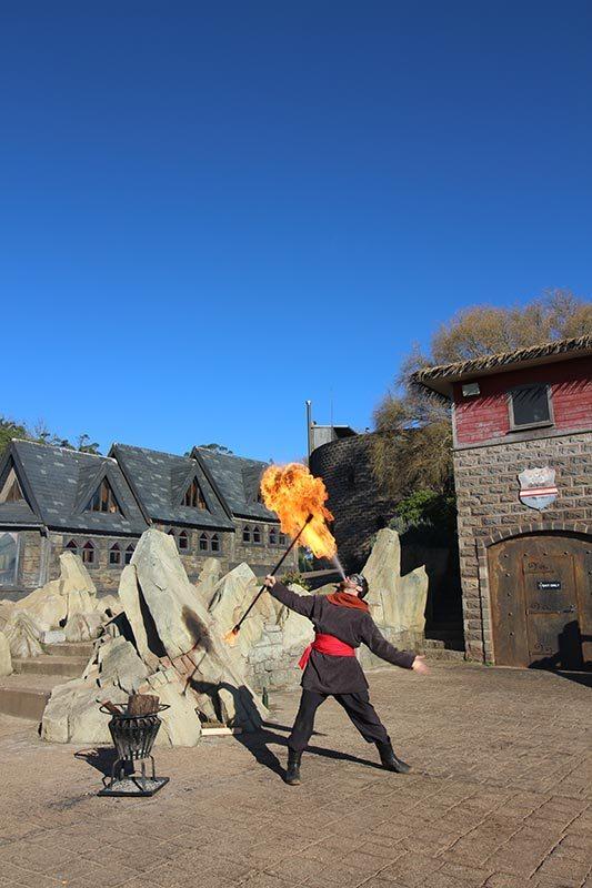 The fire performer at Kryal Castle.
