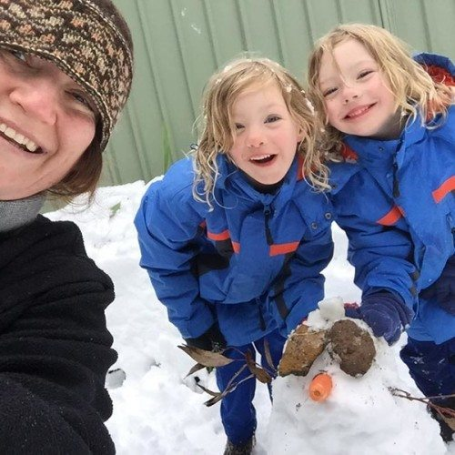 The kids and I with their first snowman