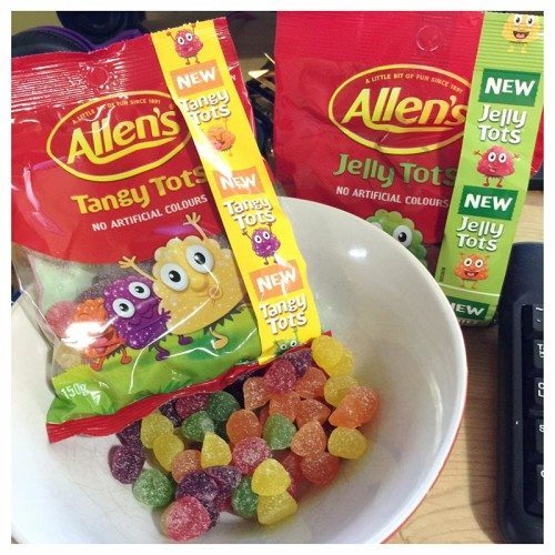 The Tangy Tots and Jelly Tots will come in handy for the twins birthday party next month. They also are a good little snack while working away at the computer.