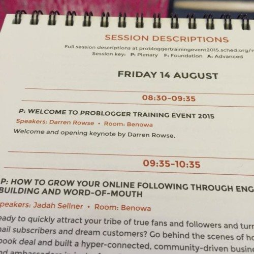 Day 1 at Problogger.... getting excited now!