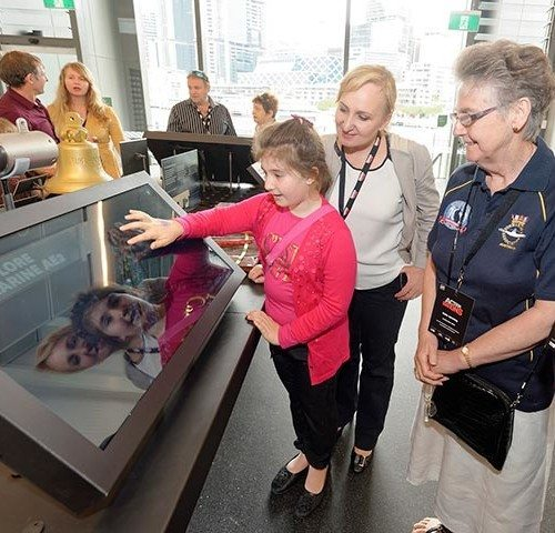 Using the Touch Screen Media. Photo courtesy of Media Services AP.