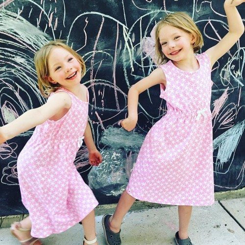 The girls are wearing an Elastic Waist Knit Dress that has pretty stars on it. It is a size 8 so that they can grow into it. You can purchase this dress for $12 from Mix Apparel.