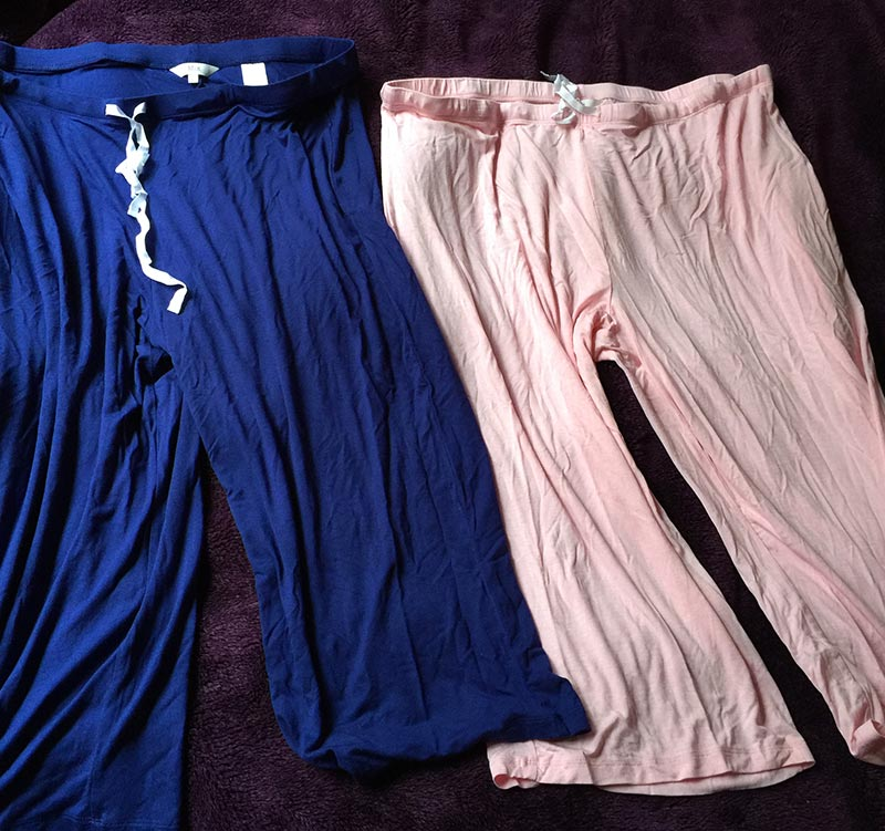 My extremely comfortable pj pants from Mix Apparel for my hospital bag and for lounging around the house afterwards, oh and for sleep. The tie on the waist is real and works. I say this due to many being just show ties and not actually allowing you to adjust the waist. These ones you can adjust the waist and they feel amazing on!