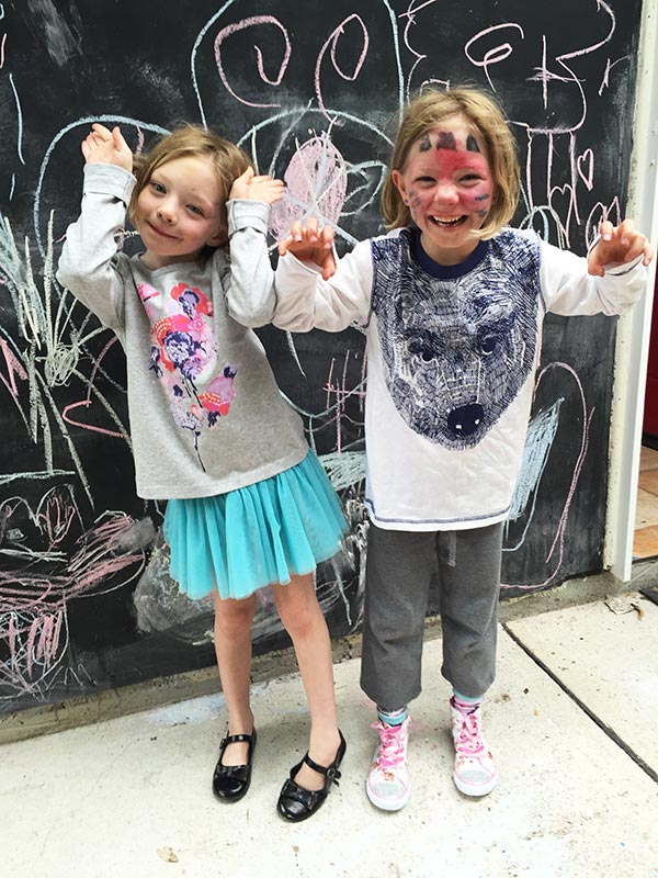 The kids in their new long sleeve tops from Mix Apparel. On the left we have the Sequin Flower Flutter Tee that is now on sale for $8 and on the right, a bear print long sleeve that is on sale for $8. You can still get size 6. There are lovely zebra/deer ones online that look cute as well.