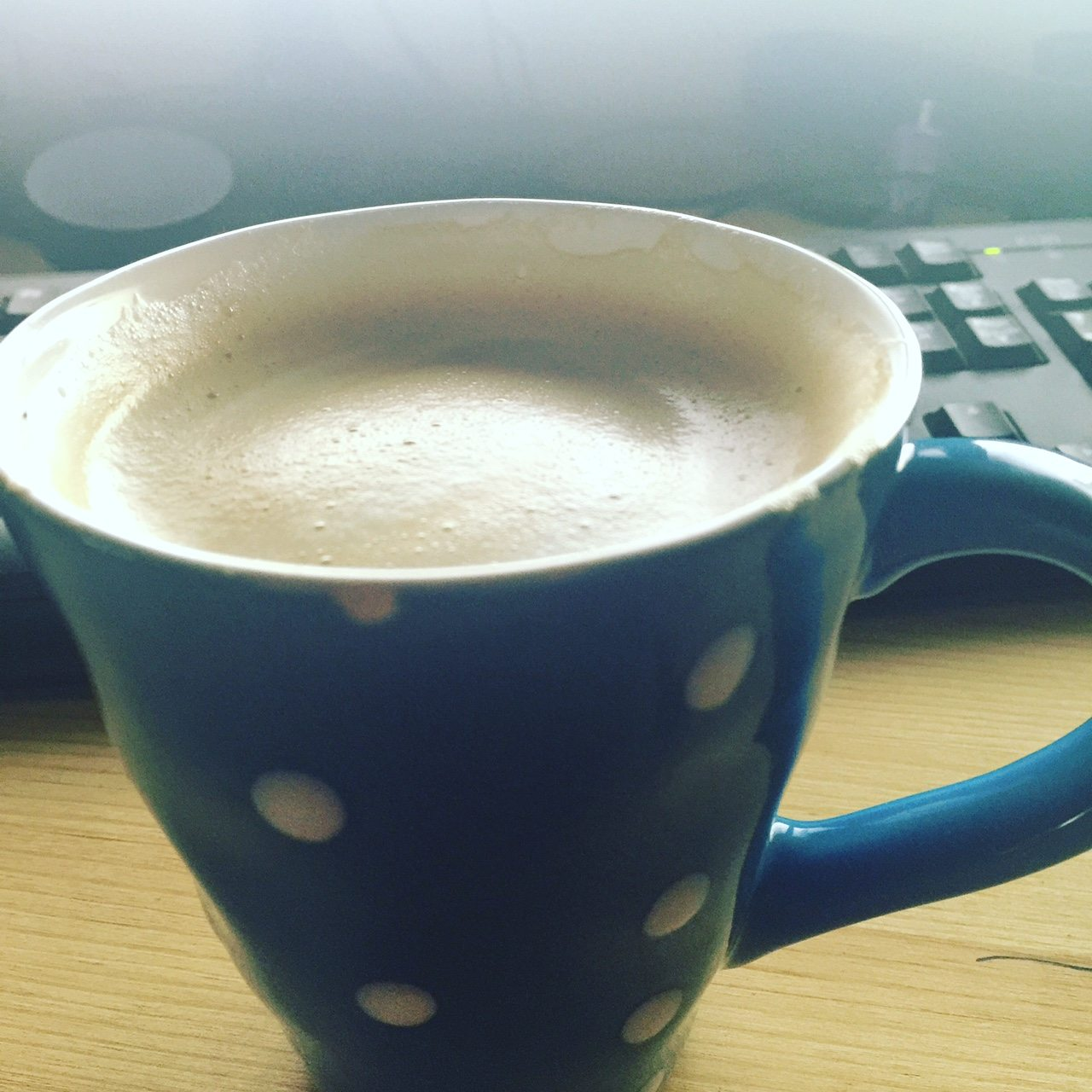 Finally getting a hot cup of coffee. Also managed to get some work done too!