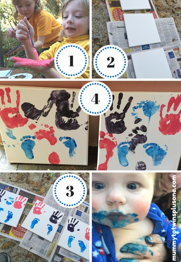 Create your own hand and feet print canvas, great gift idea. Be prepared for mess. It was a bunch of fun though, but the baby got the messiest. Enjoy!
