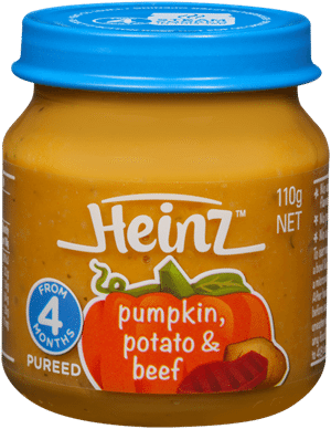 Heinz Pumpkin Potato & Beef for 4 months +. Image from the Heinz website.