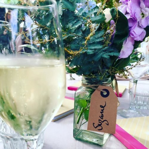 My bubbles and lovely flowers at the lunch thanks to Vagisil.