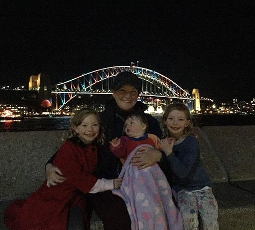 The kids and I at Vivid last Saturday. This picture was taken when we could finally move around freely and not be on top of others. It was nice to be able to walk and to sit on our own. One thing that was lovely was the amazing view and the lights.