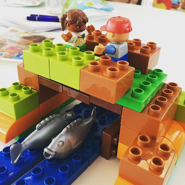 The Bridge our table built to get the LEGO DUPLO characters over the river safely.