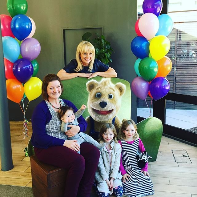 Shelley Craft, Buddy Bear, myself (Suzanne), the girls and our little boy. What fun the kids had, although the baby was teething and still is. (He cheered up once he got some Children's Panadol to make him feel better)