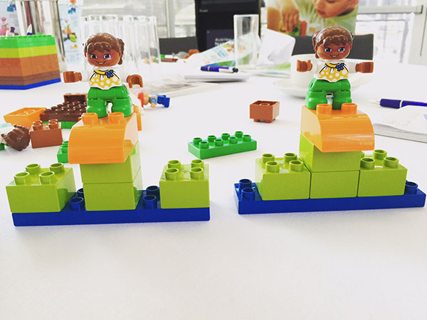 The second attempt at LEGO DUPLO at the Creative Workshop. It was very close but not exact. Better and more precise direction might have been better. This was a good way to showcase how if you have really good communication your team can benefit.