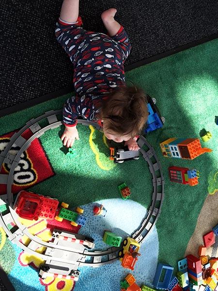 Alexander having fun with LEGO DUPLO