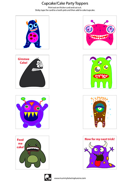 Download this amazing printable to decorate your cupcakes. Perfect for Halloween or birthday parties. Spooky monsters will make you giggle while you eat your sweets.