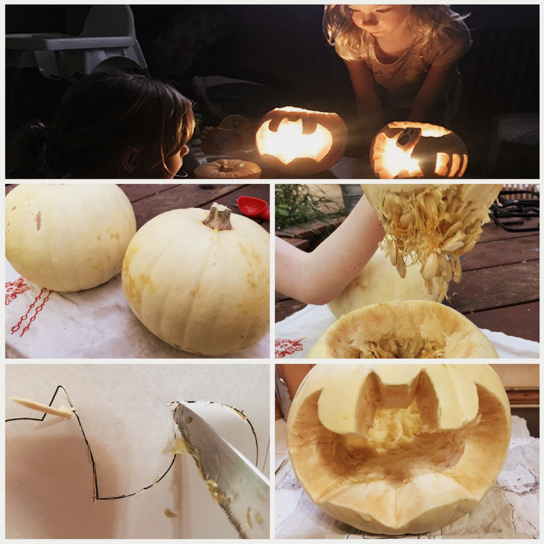 Carving our Ghost Pumpkins for Halloween. We did one bat and one a ghost.