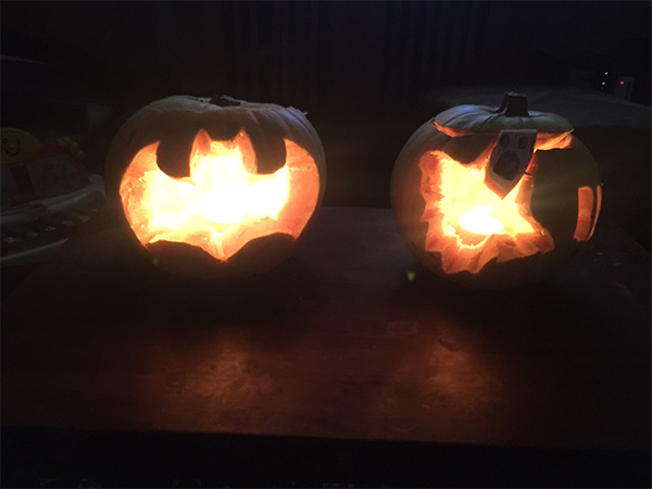 Our wonderful bat and ghost pumpkins are now all complete and lit up with a candle each.