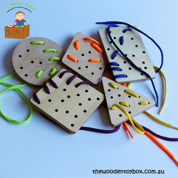 Wooden Lacing Shapes from The Wooden Toy Box