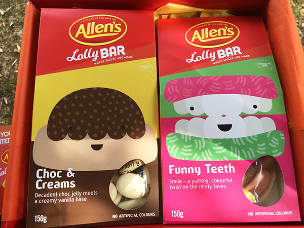 Some wonderful limited edition lollies from Allen's. Choc & Creams and Funny Teeth.