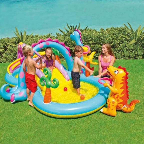 Dinoland Play Centre from Clark Rubber. This is so magical and fun for the little kids. They can slide in the water and play with the balls and even try and get them into the dinosaur hoop.