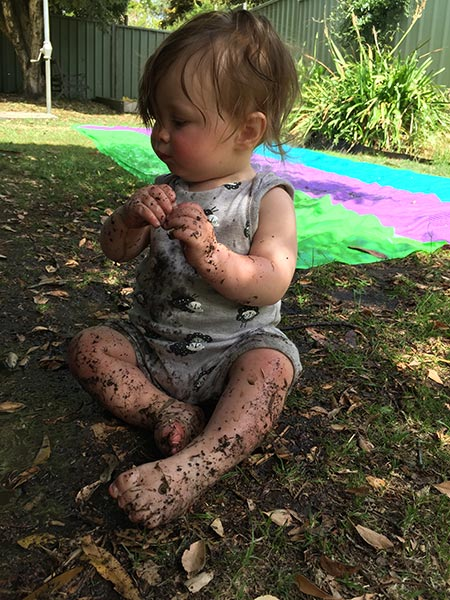 Alexander ended up very messy after playing in the water and then the mud. Being a superslide supervisor is a tough gig.