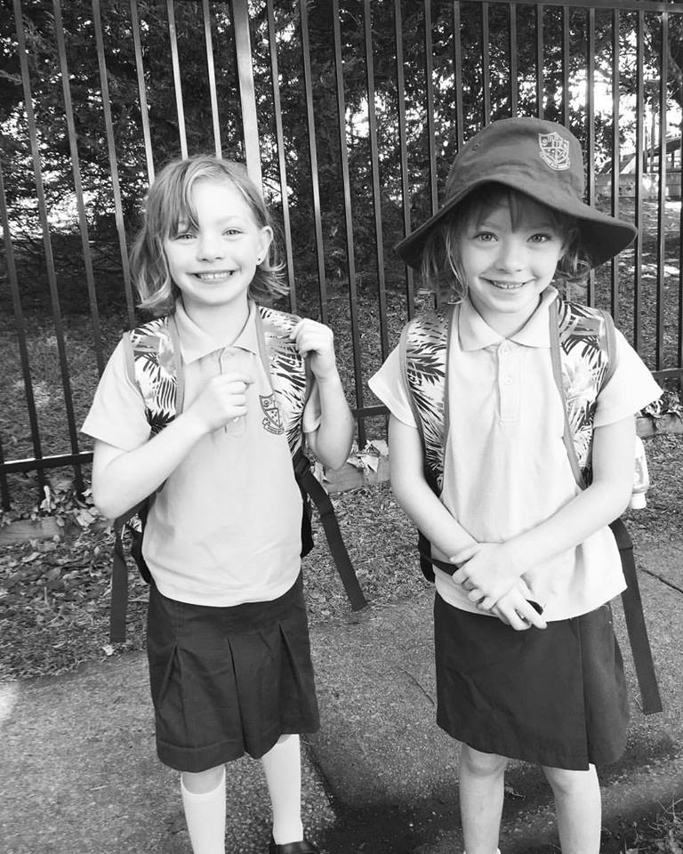 The girls starting school last year. I'm sure they will be this excited this year.