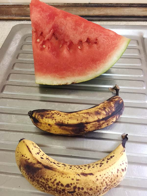 The fruit I added to the ice creams I created.