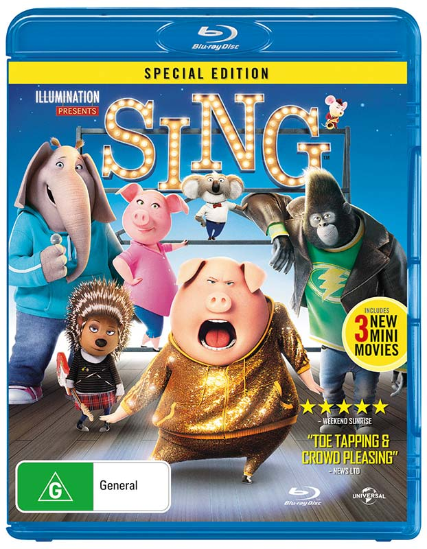 We are all are excited to be able to get a copy of SING on DVD/Blu-ray soon. SING is released in Australia on March 29th 2017. Make sure to get a copy, I'm sure they will be very popular.