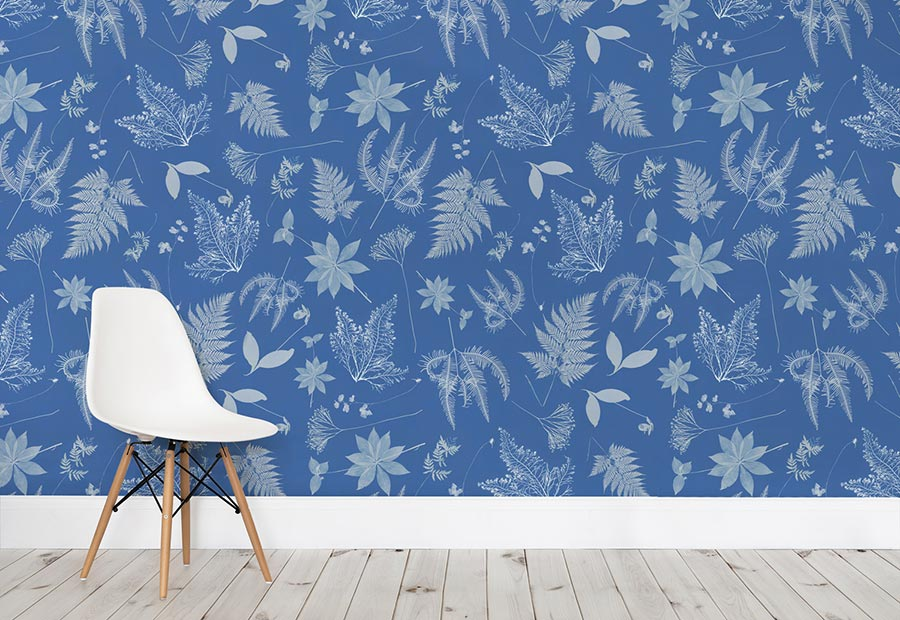 Anna Atkins Cyanotype Floral Leaf Wall Mural. I just love this wallpaper. I love blue and it is so calming. I must say that knowing that a woman did this and she was one of the first is also empowering too.