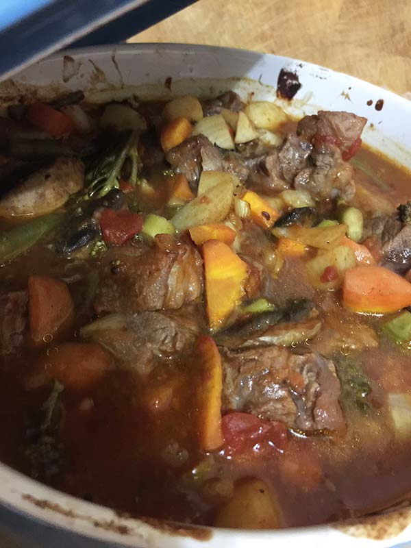 All cooked and finished. This slow cooked beef and veggie casserole is ready to eat.
