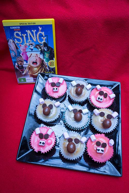 SING DVD that we are so excited to watch and our Rosita (Pig) cupcakes and Buster Moon (Koala) cupcakes. Learn about how we made them.