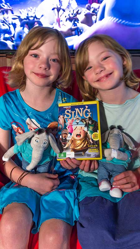 My happy girls loved sharing the SING film on DVD with their Meena the Elephant plushies.