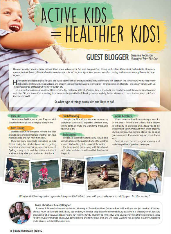 Suzanne from Mummy to Twins Plus One's article in the Curuso's Natural Health Crusader Magazine.