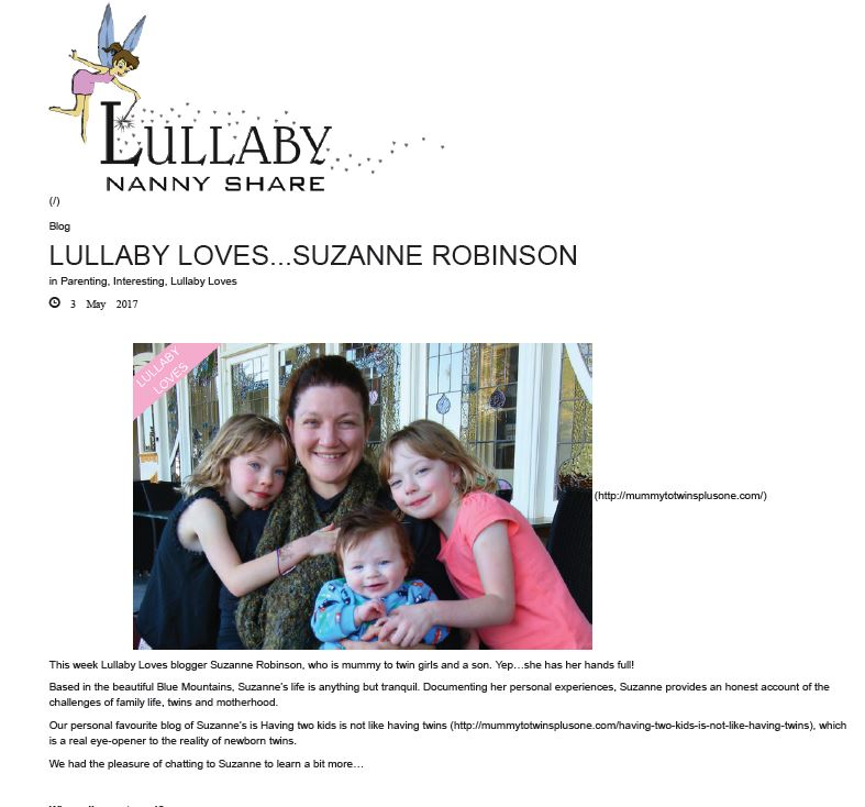 Lullaby Nanny Share Interviews Suzanne Robinson from Mummy to Twins Plus One