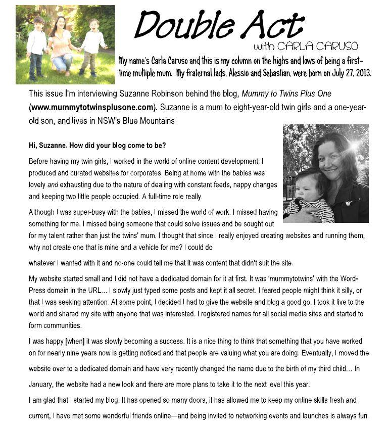 Carla Caruso interviewed Suzanne Robinson for the South Australia Multiple Birth Association.