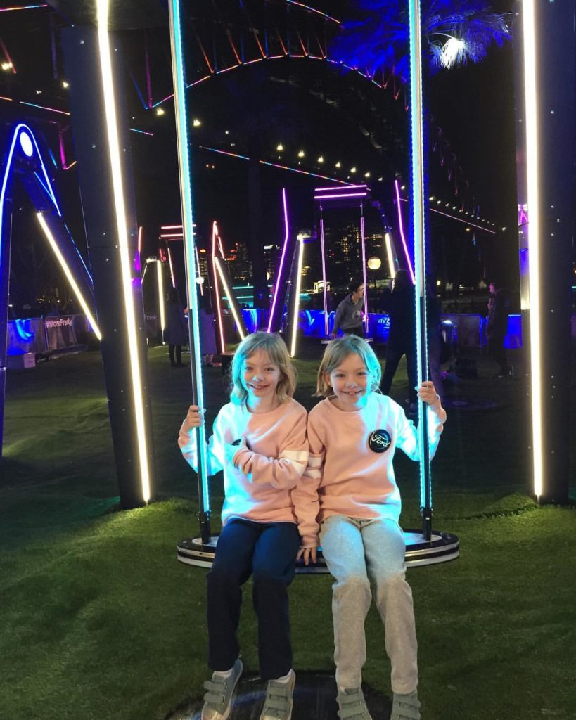 """Two very happy girls at VIVID and after they both had a turn on """"The Freedom of Movement"""" creation from Ford Australia."""