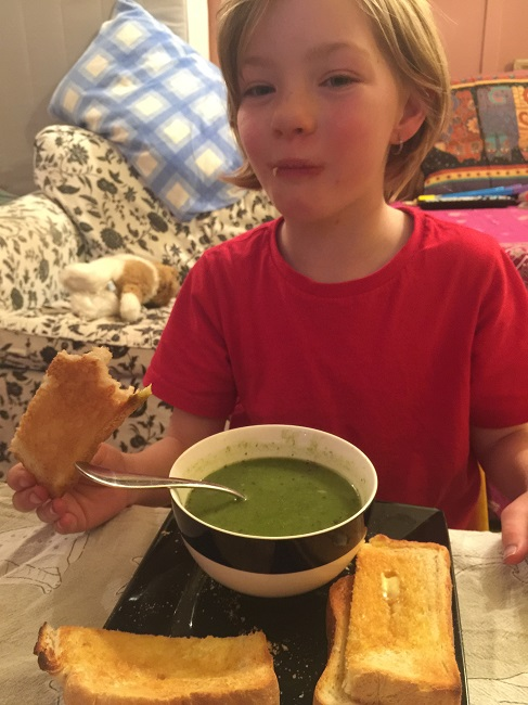 Lillian tried out the Chicken & Broccoli Soup by Voome. She had a bit but not as much as I had hoped. I suppose it is good she gave it a go.
