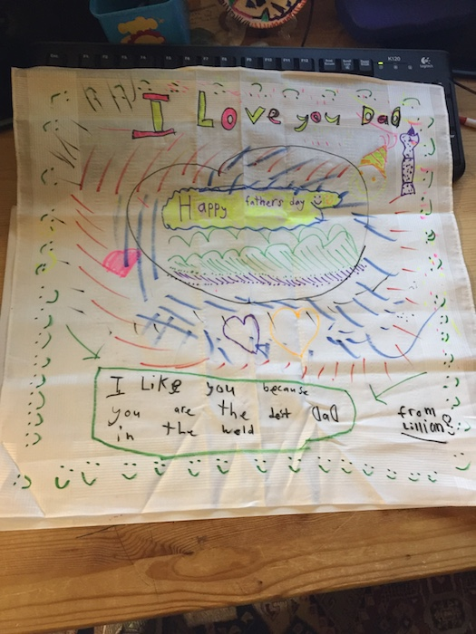 Lillian's brightly coloured Sharpie coloured handkerchief for daddy.
