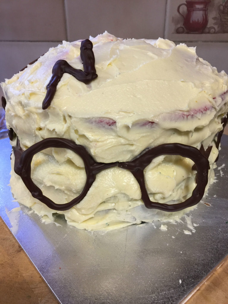 Finished Harry Potter cake all ready for the party.