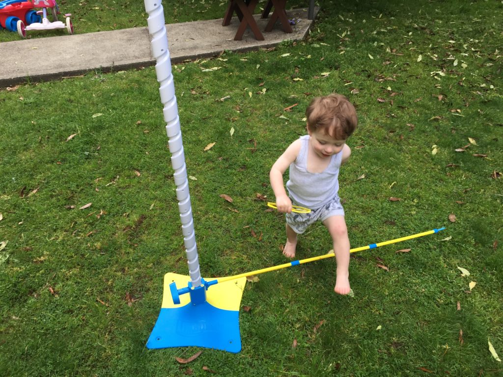 Alexander testing out the Limbo Hop before his sisters had a turn.