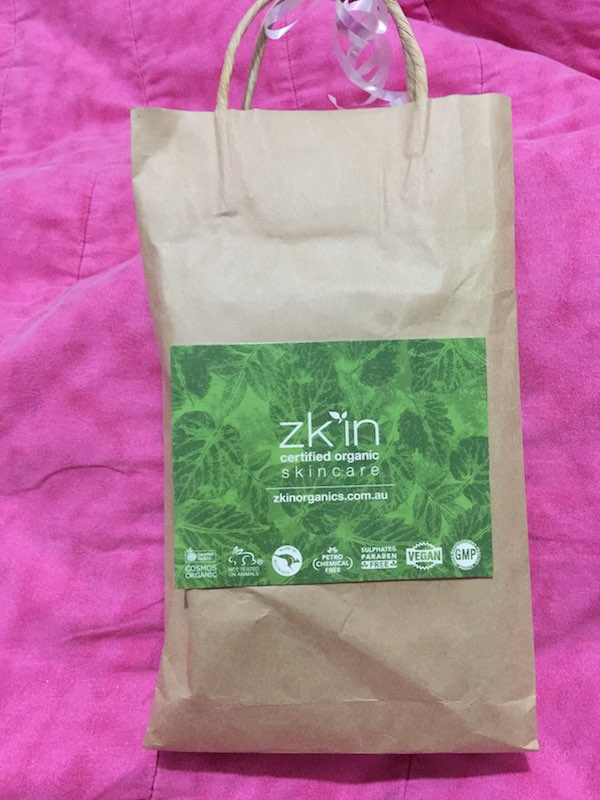 The pack of Zk'in Organic Skincare that I have been testing out.
