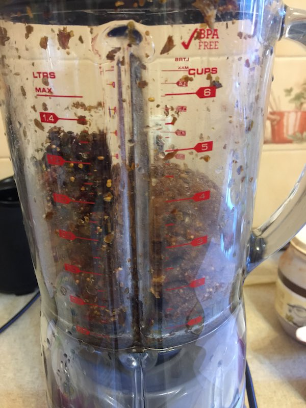 Making my energy bars in my new fab blender.