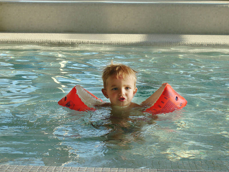 Finally in the pool and learning to swim... well that is in between jumping into the pool.