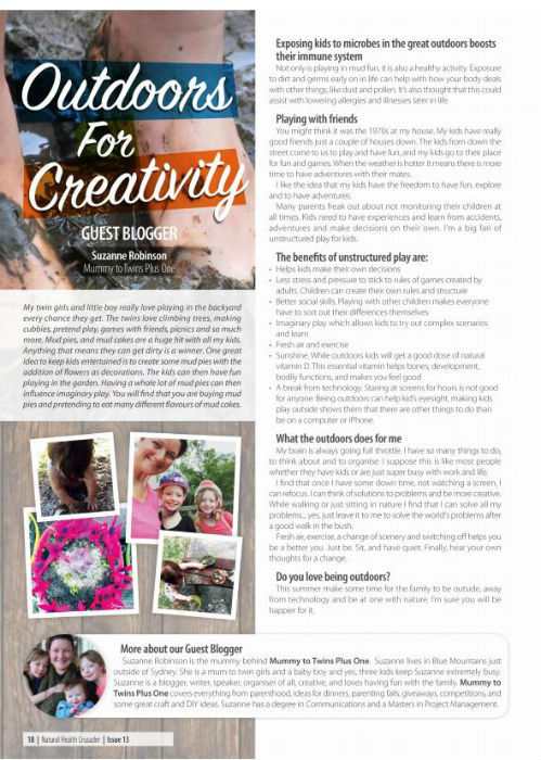 Outdoors For Creativity an article by Suzanne Robinson for Caruso's Natural Health.