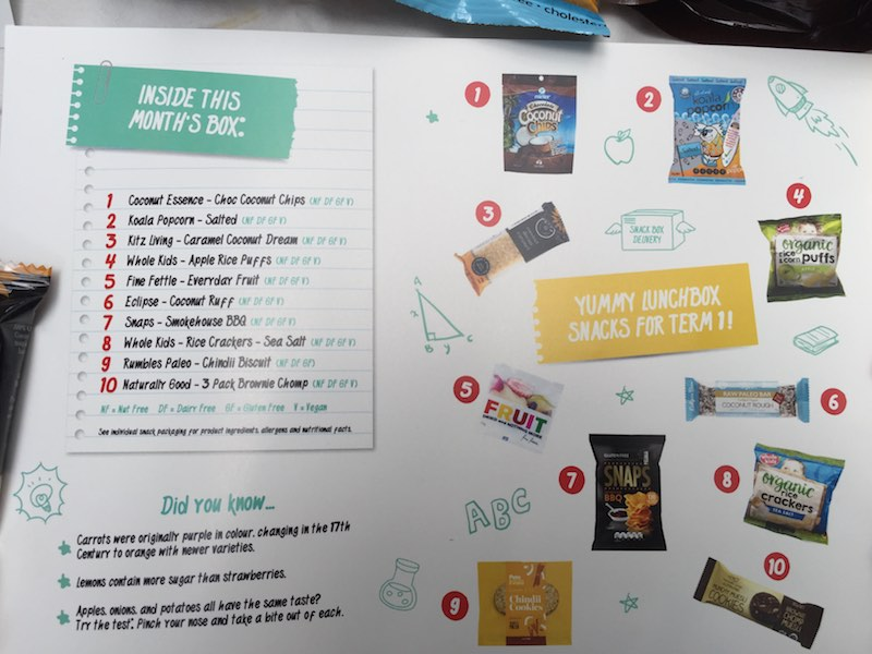 School Snack Box gives you a breakdown of all the snacks included in each box. See what was in my term 1 box.