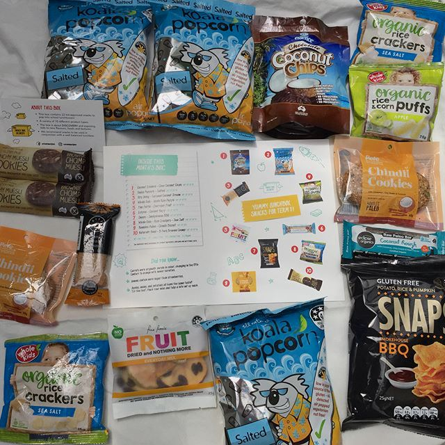 All the goodies from School Snack Box for term 1.